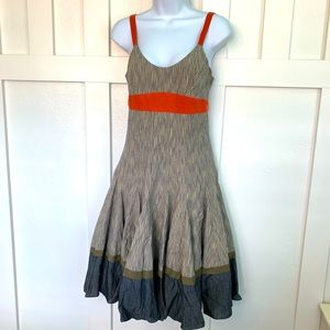 Tocca Blue Striped Sleeveless Midi Dress NWT